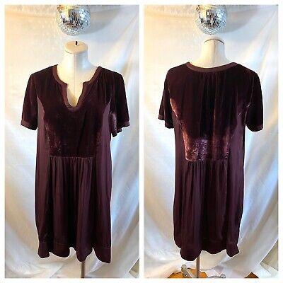 Women's Anthropologie Maeve Ingrid Velvet Tunic Dress Burgundy Size XL MSRP $138