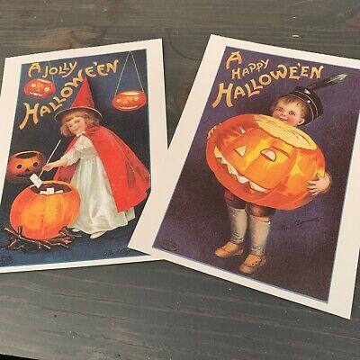 Set of 2 Vintage Halloween Post Cards