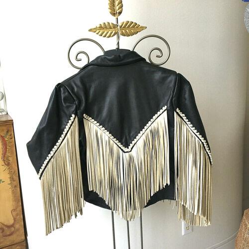 Vintage Harley Davidson Womens Gypsy Leather Jacket SZ 12 Black - White Fringe