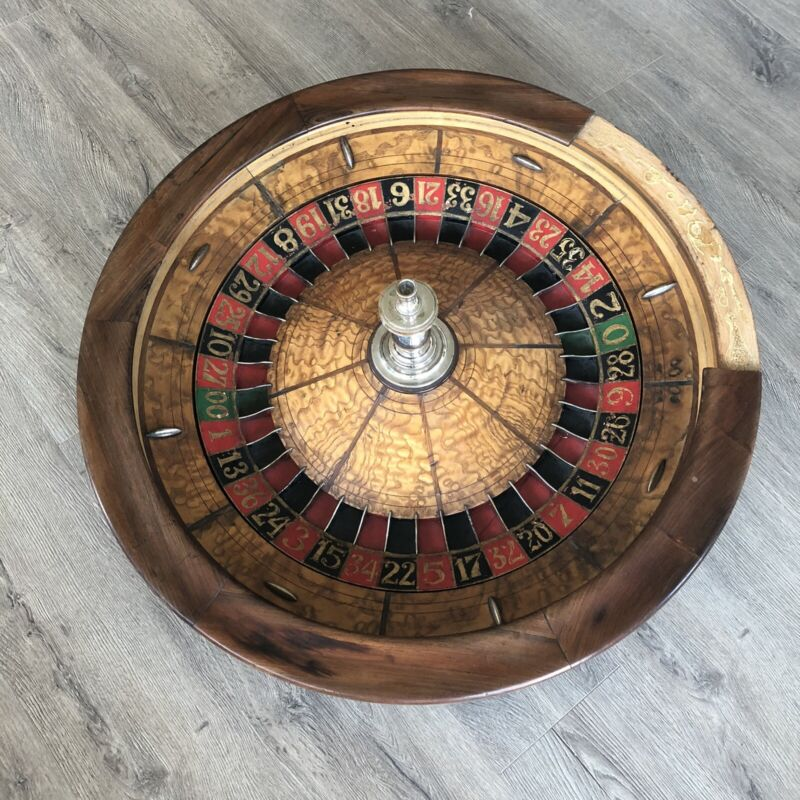 "32"" Vintage 1899 Casino Roulette Wheel table Colo Sporting Goods Denver Colorado"