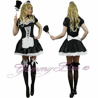 Yummy Bee French Maid Fancy Dress Costume Plus Size Waitress Hen Rocky Outfit - French Maids Outfit