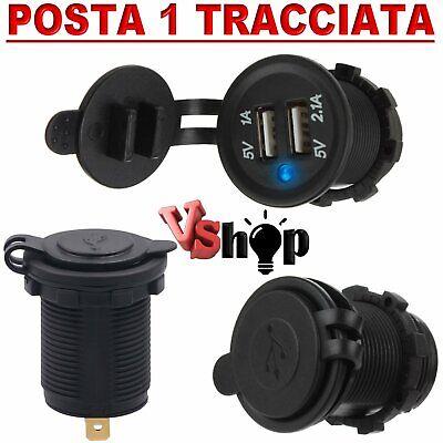 caricabatterie USB 12V/24 presa accendisigari doppia porta per auto furgone moto