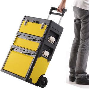 Trolley tool box Rolling Stacking Storage Organiser Case Adjustable Handle