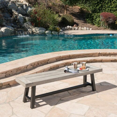Angelina Outdoor Acacia Wood Dining Bench with Rustic Metal Finish Frame Home & Garden