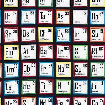 Fabric Robert Kaufman Science Fair Chemical Periodic Table - BHY