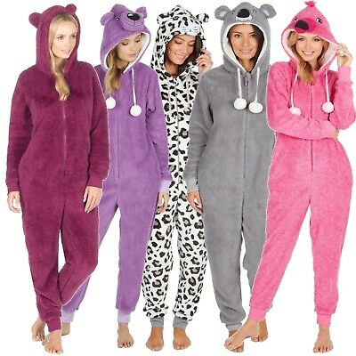 Ladies 1Onesie All in One 3D Animal Hooded Novelty Fleece Zip Pyjamas Onezee