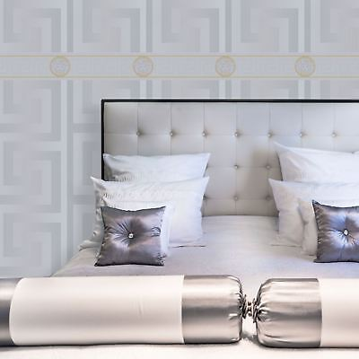 Silver Versace Wallpaper & Border Luxury Satin Modern Greek Key Gold Designer