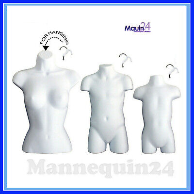 3 Mannequins - Female Torso Child Toddler Body Forms -white 3 Hangers