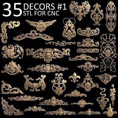 3d Stl Model Cnc Router Artcam Aspire 35 Pcs Decor Collection Pack 1