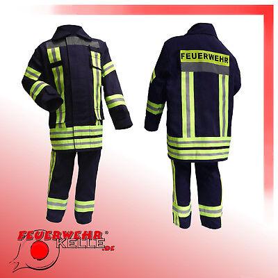 Feuerwehranzug Feuerwehr Kostüm Feuerwehrmann Kinder Feuerwehrkostüm blau (Feuerwehrmann Kinder-kostüm)