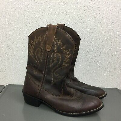 Girls Cimarron Brown Leather Cowboy Western Pull On Low Heel Boots Youth Sz 3.5