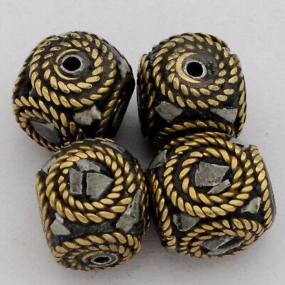 White Howlite Brass 4 Beads Tibetan Nepalese Handmade Ethnic Tribal Nepal UB2577