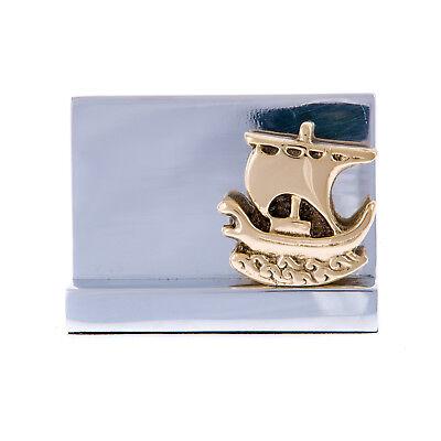 Business Card Holder Elegant Handmade Aluminum Brass Archaic Ship Design