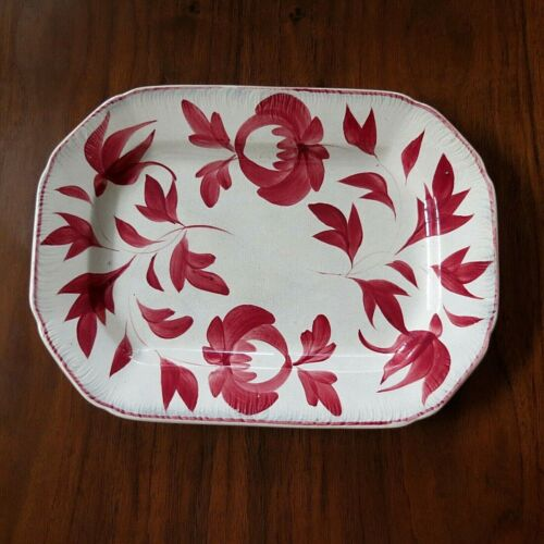 1830s ? ADAMS ROSE Pearlware PLATE PLATTER Feather Edge RED (10x7) ENGLISH Rare