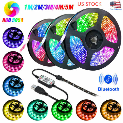 USB LED Strip Lights 5050 RGB TV Backlight Bluetooth APP Rem