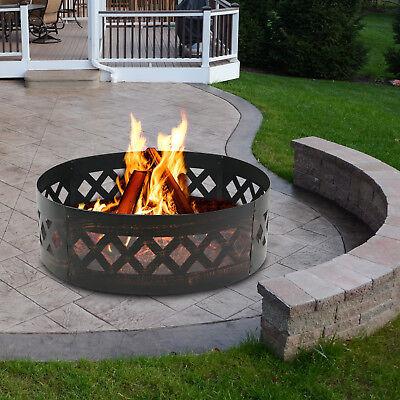 37 inch Diameter Steel Fire Pit Campfire Ring Heavy Duty InGround 12