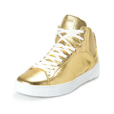 Versace Men's Gold Leather Medusa Hi Top Fashion Sneakers Shoes Sz 7 8 8.5 9.5