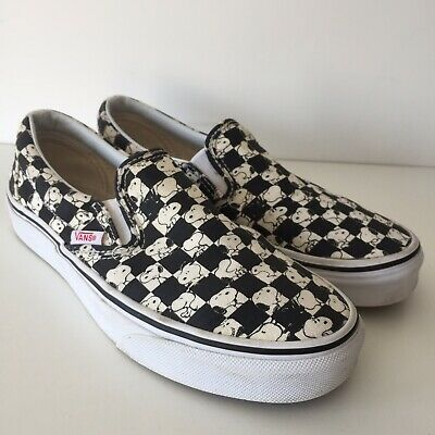 Vans Snoopy Checkerboard Slip Ons Peanuts Vans Black White Cream Size 3 Trainers