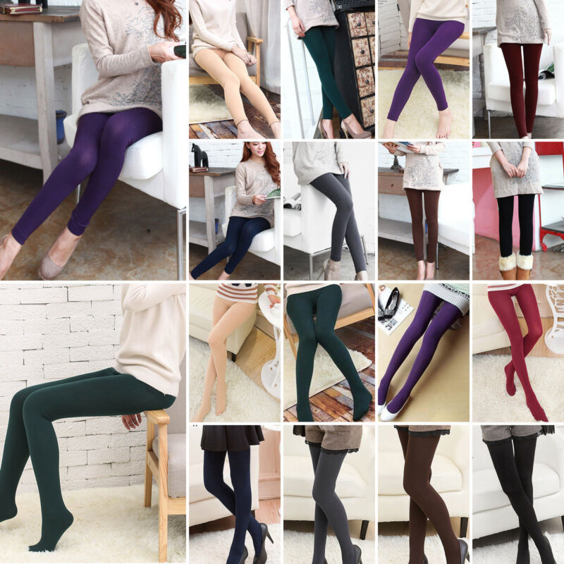 Women Fleece Lined Warm Thick Thermal Full Foot Footless Tig