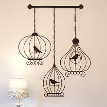 Wrought Iron Metal Wall Art Large 52cm Vintage BIRDCAGES Outdoor Prestons Liverpool Area Preview