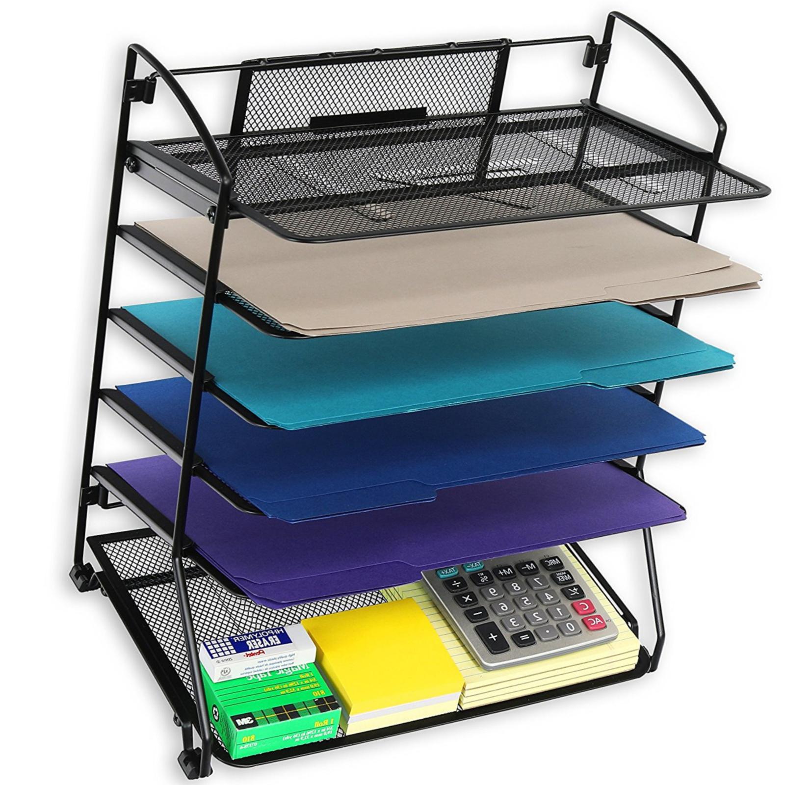 Desktop File Holder Desk Metal Organizer Wire Mesh Sorter Of