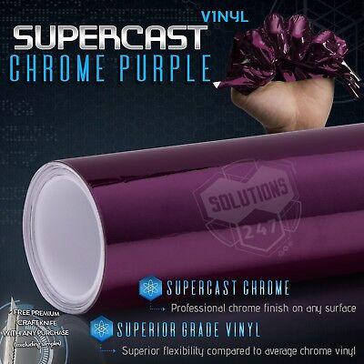 Purple Supercast Flex Stretch Mirror Chrome Vinyl Wrap Bubble Free 48 x 60 In