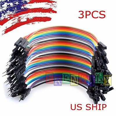 3x 40pcs 10cm Male To Female Dupont Wire Jumper Cable For Arduino Breadboard