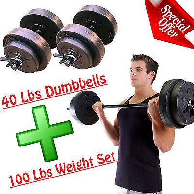 Gold Gym Weight Set Fitness Adjustable Workout Home Dumbbell Vinyl Bar Equipment