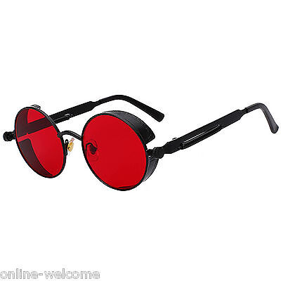Steampunk Gothic Retro Round Circle Sunglasses Black Metal Frame Red Lens (Black Circle Frame Sunglasses)