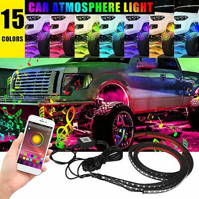 4x RGB LED Strip Under Car Tube Underglow Underbody System Neon Music Light Kit