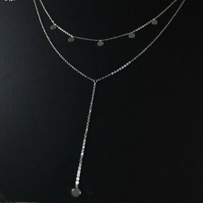 GENUINE 925 Sterling Silver Tiny Disc Layered Stacking Y Choker Necklace UK