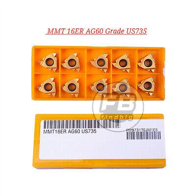 10 New Mmt 16er Ag60 Grade Us735 Threading Carbide Inserts