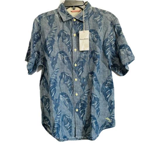 $125 Tommy Bahama Mens Help Me Fronda S/S Shirt Small Blue Floral Hawaiian Casual Button-Down Shirts