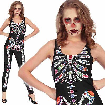 Adults Lady Day Of The Dead Jumpsuit Fancy Dress Halloween Costume Skull - Candy Skulls Kostüm