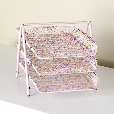 3-tier Paper Tray Organizer For Home And Office - Pink Polka Dot