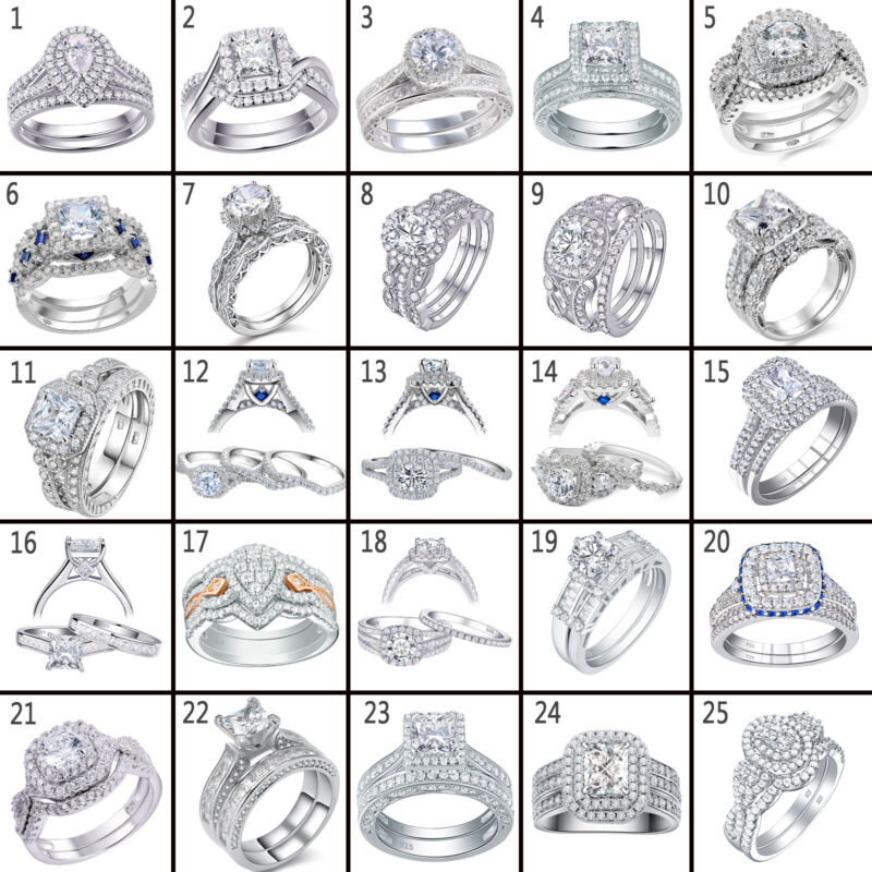 Newshe Wedding Band Engagement Ring Set 925 Sterling Silver Round Princess Cz