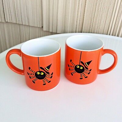Crate & Barrel Halloween 2 Child Mugs Orange and Black Witches Hat Spooky Spider - Crate And Barrel Halloween Mugs