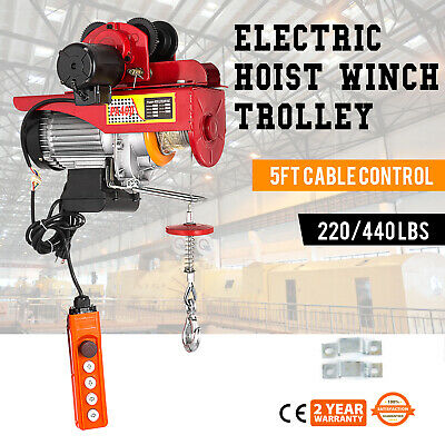 Electric Wire Rope Hoist With Trolley 220lb440lb 110v Heavyduty Brand New