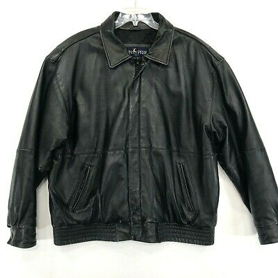 Luna Pier Distressed Black Leather Jacket Mens XL Quilted Lining Basic Zip Coat