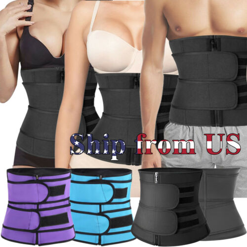 Women & Men Waist Trainer Body Shaper Slimmer Sweat Belt Tummy Control Band US