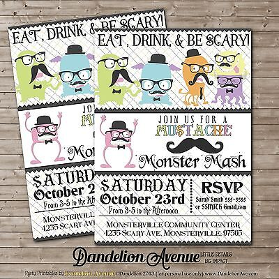CUSTOM Hipster Mustache Monster PRINTABLE Halloween, Birthday, Party Invitation  - Halloween Party Invitations Printable