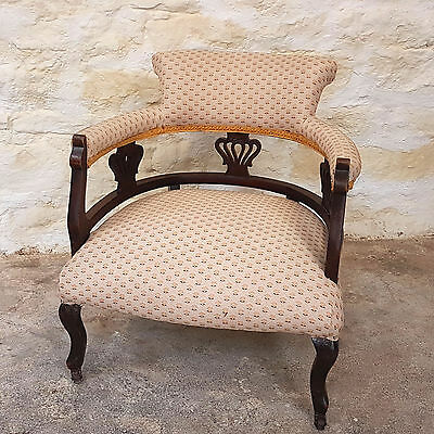 Victorian Upholstered Open Arm Parlour Tub Chair - C1880 (Antique)