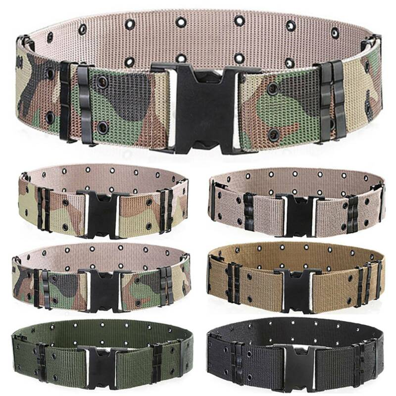 Mens Tactical Belt 51 Inch Adjustable Military Nylon Belts with Heavy Duty Metal Buckle Black Plaid
