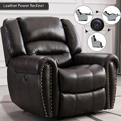 Leather Power Recliner Chair Sofa Overstuffed Home Theather Seating w/ USB Port