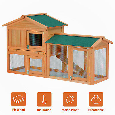 """58"""" Wooden Rabbit Hutch Cage Chicken Coop Hen Small Pet Animal Poultry Cage Run"""