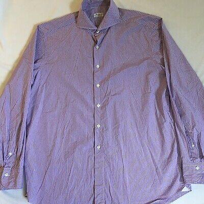 Finamore Napoli 1925 Mens Lavender White Gingham Check L/S Cotton Shirt Size XL