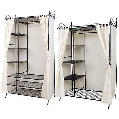 Metall Kleiderschrank Mit vorhang Faltschrank Garderobeschrank Schrank Regal (Garderobe Mit Regal)