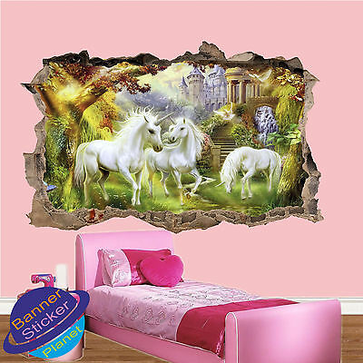 UNICORN IN DREAMLAND FOREST 3D ART WALL STICKER KIDS GIRL ROOM DECOR DECAL MURAL - Unicorn In Forest