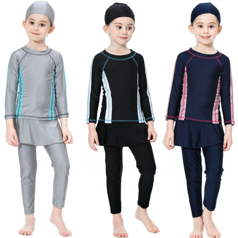 Kids Girls Muslim Islamic Swimwear Modest Burkini Swimsuit Beach Bathing Suit Clothing, Shoes & Accessories