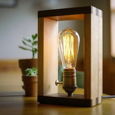 The Alto Lamp: Solid Wood Dimmable Shadow Box Accent Desk Lamp by Freeform - Alto Lamp